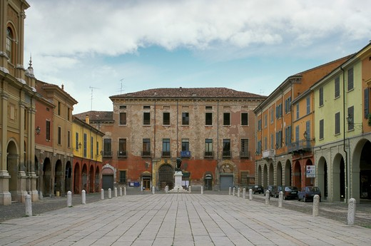 mazzini square and cathedral, guastalla, italy : Stock Photo