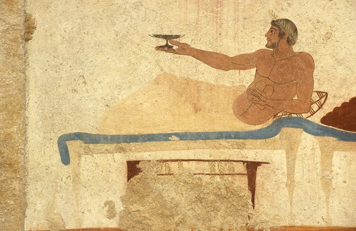Banquet, mural, Tomba del Tuffatore, Paestum archaeological park, Campania, Italy : Stock Photo