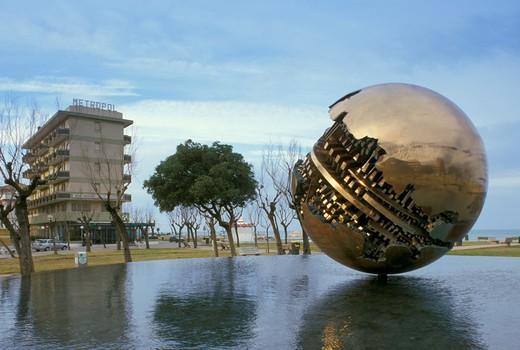 piazza della liberta and pomodoro sculpture, pesaro, Italy : Stock Photo