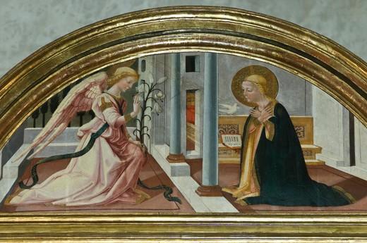 altar piece detail, badia a ruoti, italy : Stock Photo