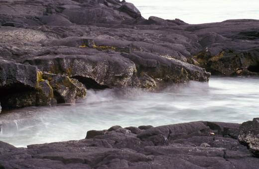 Volcanic coast, Pepeeeko Point, Big Island, Hawaii, United States of America, North America : Stock Photo