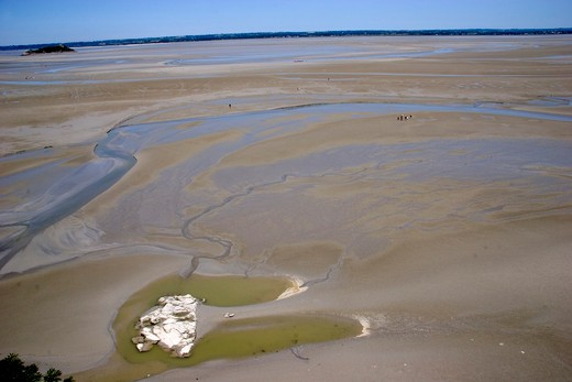 Low tide, Mount Saint Michael, Normandy, France, Europe : Stock Photo
