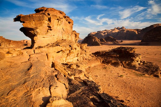 Middle East, Jordan, Wadi Rum, also known as The Valley of the Moon, is one of the most spectacular desert landscapes in the world : Stock Photo