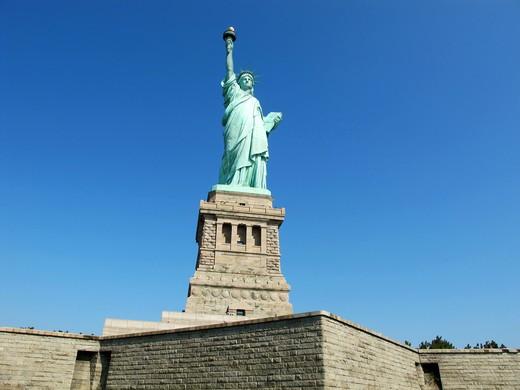 The Statue of Liberty, Liberty Island, New York City, New York, United States of America, North America : Stock Photo