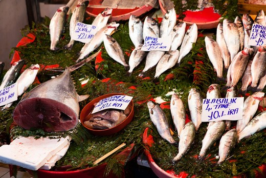 Fish Market, Galata Bridge, Istanbul, Turkey : Stock Photo