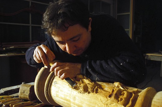 Stock Photo: 4261-2932 Wood carver, Naples, Campania, Italy