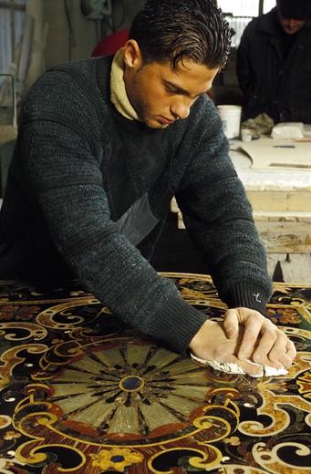 Inlay marble work, Naples, Campania, Italy : Stock Photo