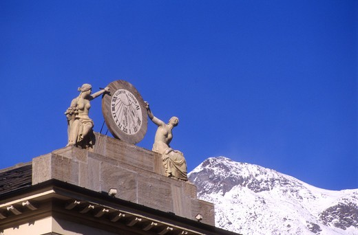Piazza Chanoux, Aosta, Valle d'Aosta, Italy : Stock Photo