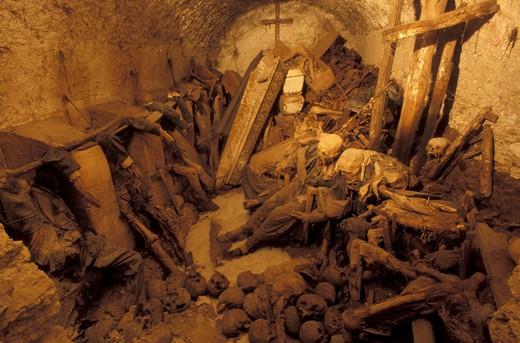 Stock Photo: 4261-2978 Crypt with mummies, San Bartolomeo church, Campagna, Campania, Italy.