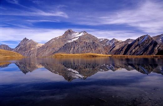 Djouan lake and Grivola Peak, Valsavarenche, Gran Paradiso national Park, Aosta Valley, Italy : Stock Photo
