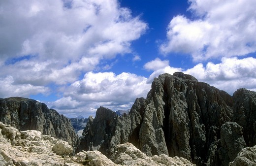 Stock Photo: 4261-30002 Sassolungo group view from the top of Sasso Piatto, Dolomiti, Trentino Alto Adige, Italy