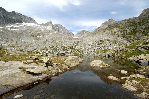 Stock Photo: 4261-30421 Going to Amola Segantini refuge on Presanella mount, near Madonna di Campiglio and Pinzolo,  Trento province, Trentino, Italy, Europe