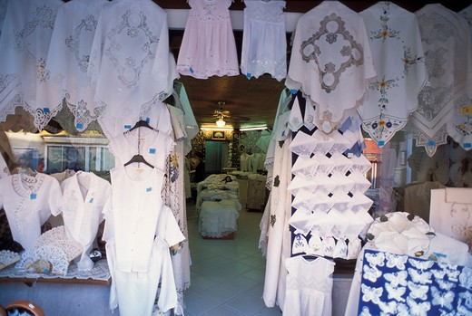 Shop of laces, Burano, Venice, Veneto, Italy : Stock Photo