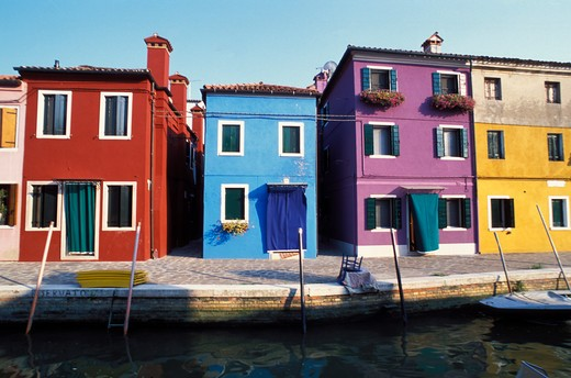 "Stock Photo: 4261-33155 Typical houses on the ""Rio"", Burano, Venice, Veneto, Italy"