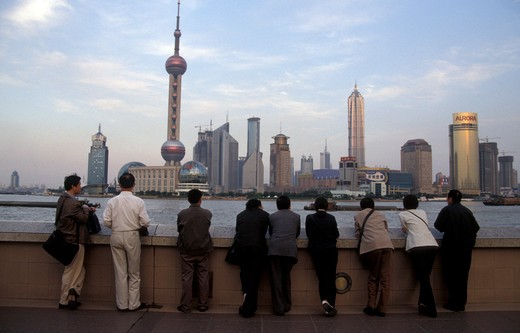 Stock Photo: 4261-34575 People watching at Pudong New Area, Shanghai, China, Asia