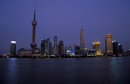 Pudong New Area skyline by night, Shanghai, China, Asia : Stock Photo