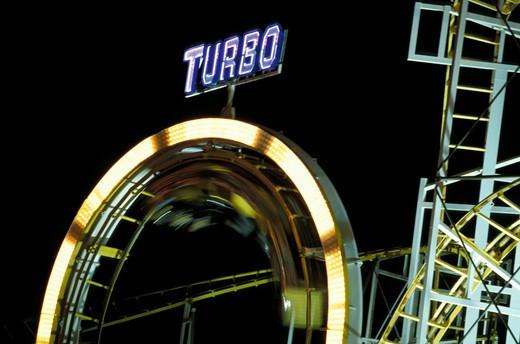 Stock Photo: 4261-34726 Roundabout, Brighton Pier by night, Brighton, South East England, England, Uk, Europe