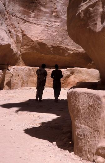 As Siq gorge, Entrance of Petra, Petra, Jordan, Middle East : Stock Photo