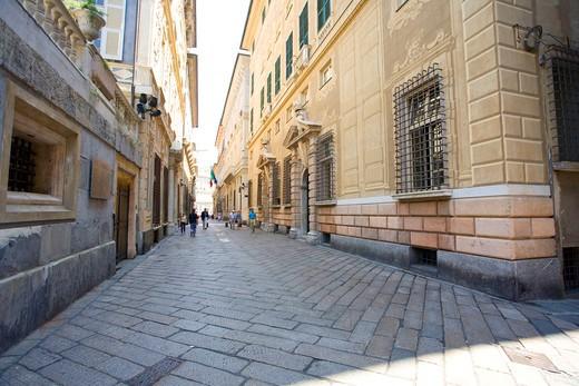 Via Garibaldi, World heritage UNESCO site, Strade Nuove, Rolli Palaces, Genoa, Ligury, Italy : Stock Photo