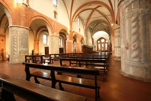 Abbazia di Chiaravalle abbey, Chiaravalle Milanese, Lombardy, Italy, Europe : Stock Photo
