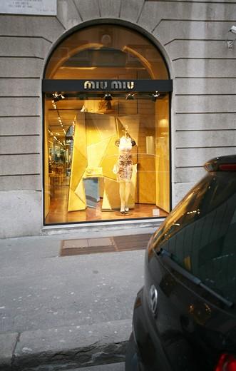 Miu Miu shop window, Via Sant'Andrea 21  street, Milan, Lombardy, Italy, Europe : Stock Photo