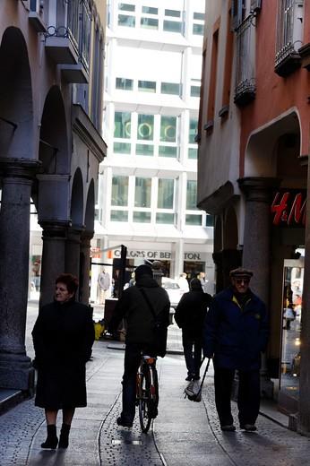 City center, Lugano, Canton Ticino, Switzerland : Stock Photo