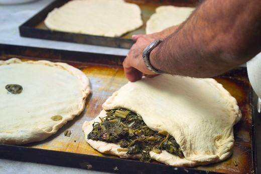 Stock Photo: 4261-4040 Preparation of Pizza Chiena, Montella, Irpinia, Campania, Italy