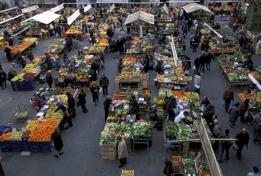 Market in Piazza Cavallotti, Livorno, Tuscany, Italy : Stock Photo