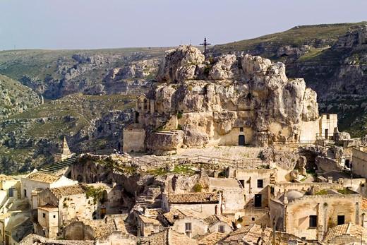 Stock Photo: 4261-4099 Rupe dell'Idris rock, Sasso Caveoso, Matera, Basilica, Italy