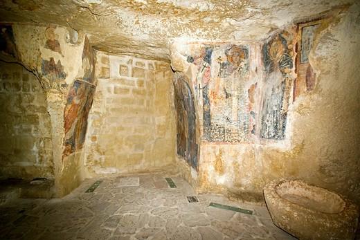 Stock Photo: 4261-4114 Santa Maria dell'Idris crypt, Matera, Basilicata, Italy