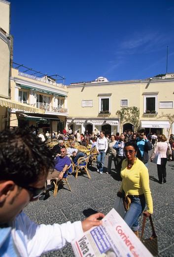 La Piazzetta, Capri, Capri island, Campania, Italy : Stock Photo