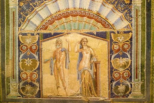 Mosaic, Casa di Nettuno e Anfitrite villa, Excavations, Ercolano, Campania, Italy : Stock Photo