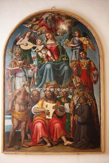 Madonna con il Bambino, Santi e Profeti e il committente Niccolò Gamurrini by Luca Signoreli, State Museum of Medieval and Modern Art, Arezzo, Tuscany, Italy : Stock Photo