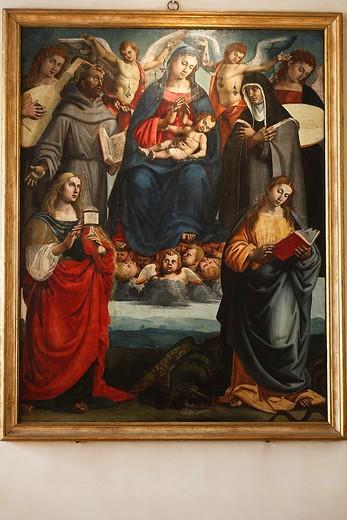 Madonna con bambino e santi Francesco e Chiara, Maria Maddalena e Margherita by Luca Signoreli, State Museum of Medieval and Modern Art, Arezzo, Tuscany, Italy : Stock Photo