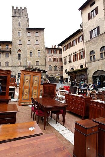 Antiquarian Fair, Vasari square, Arezzo, Tuscany, Italy : Stock Photo