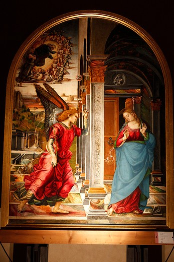 The Annunciation, Luca Signorelli, 1491, Volterra picture gallery, Volterra, Tuscany, Italy : Stock Photo