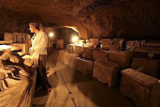 The Epigraphic area, Museo Civico della Città Sotterranea, Chiusi, Val di Chiana, Tuscany, Italy : Stock Photo