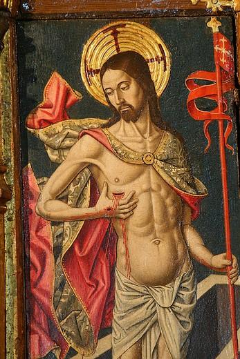 The resurrection of Christ, Saltar-piece, retable by the Master of Castelsardo, San Pietro Apostolo church, Tuili, Medio Campidano Province, Sardinia, Italy : Stock Photo