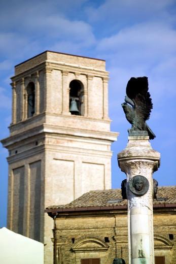 Foreshortening, Santa Maria Maggiore church, Rossetti square, Vasto, Abruzzo, Italy : Stock Photo