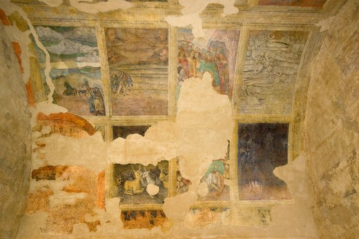 Fresco, San Francesco sanctuary, Lanciano, Abruzzo, Italy : Stock Photo