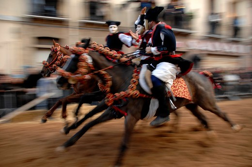 Pariglie exibition, Sartiglia feast, Oristano, Sardinia, Italy : Stock Photo
