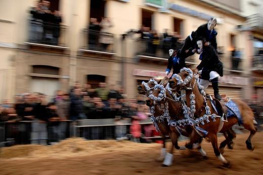 Pariglie exibition, Sartiglia feast, Oristano, Sardinia, Italy : Stock Photo