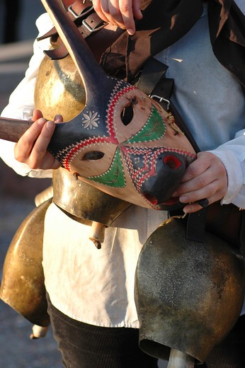 Boes e Merdules typical masks, Ottana, Sardinia, Italy : Stock Photo
