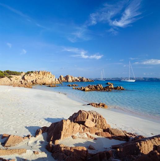 La Maddalena, Budelli Island, Cala di Roto, Spiaggia Rosa, Provincia Olbia Tempio, Sardinia, Italy, Europe : Stock Photo