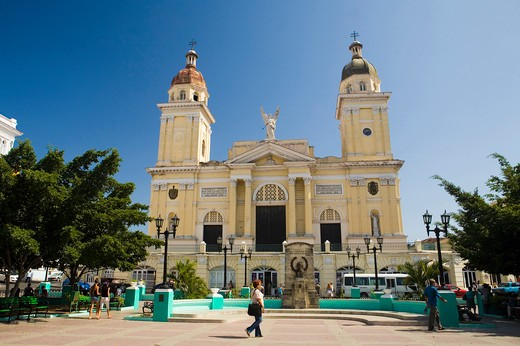 Cathedral Nuestra Senora de la Asuncion, Parque Cespedes, Santiago de Cuba, Cuba Island, West Indies, Central America : Stock Photo
