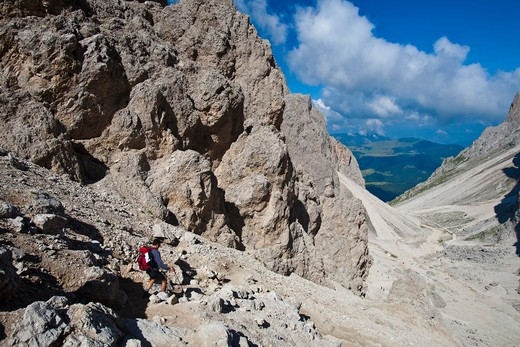 trekking in Sasso Lungo, Dolomiti, Trentino Alto Adige, Italy, Europe : Stock Photo