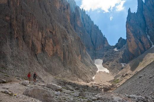 trekking on Sasso Lungo, Dolomiti, Trentino Alto Adige, Italy, Europe : Stock Photo