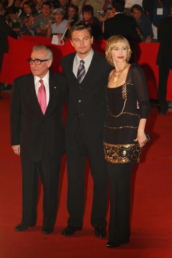 """Red carpet, Martin Scorsese, Leonardo Di Caprio e Vera Farmiga for """"The Departed"""" movie, Rome International Film Festival, Rome, Lazio, Italy : Stock Photo"""