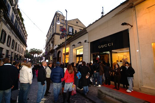 Stock Photo: 4261-47597 Queue in front of Gucci shop, Via Calabritto, Naples, Campania, Italy