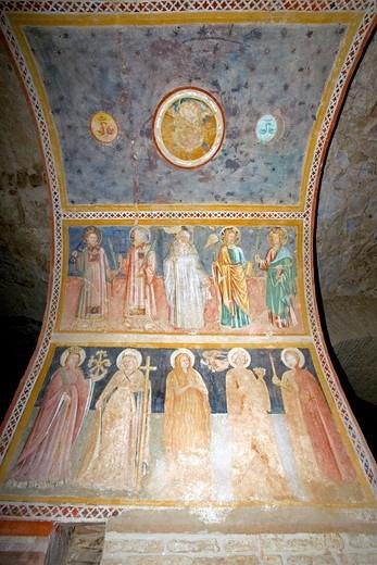 Fresco(XV), Vasca Limaria (XI Roman building), Capitular Museum, Atri, Abruzzo, Italy : Stock Photo